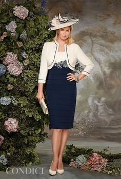 Condici mother of the bride dress with navy skirt and cream bodice with matching bolero jacket 70841