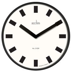 Acctim This stylish large wall clock in gloss black metal finish ideal wall clock for large wall, living room, dining room or large hallway. White Wall Clocks, London Clock, Pendulum Wall Clock, White Walls, Black And White, Black Metal, Modern, Dining Room, Stylish
