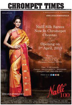 NALLI SILK Sarees now in Chromepet, Chennai.NALLI SILK Sarees opening on 3rd April,2015. Venue: 202, G.S.T.Road. Chrompet, Chennai- 600044. Timing 9 Am onwards, Contact : 044- 22414569 / 9841640404. Customer Care: 1800 4250 4567.  NALLI SILK Sarees, NALLI SILK Sarees now in Chromepet, NALLI SILK Sarees now in Chromepet, Chennai, Chrompet Nalli Silks , Nalli Silks Chrompet Opeining