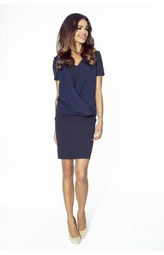 Klasyczna sukienka 2w1 KM217-3 GRANAT , Codzienne, Do pracy, Z rękawem, Dopasowane, Wyszczuplające, Mini, Wizytowe, Sukienki - Kartes-Moda