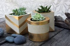 Table toppers - Round Gold Leaf Cement Planter by TheSwedishGypsy on Etsy