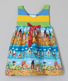 Look at this Yellow & Blue At the Beach Dress - Infant & Toddler on #zulily today!