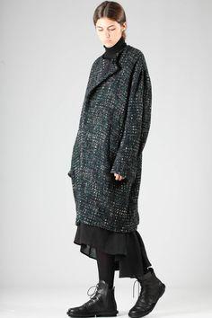 Y'S Yohji Yamamoto - Wide Coat In Loom Worked Wollen Multicolour Cloth :: Ivo Milan