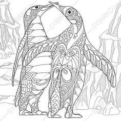 Penguins Coloring Page. Adult coloring book by ColoringPageExpress