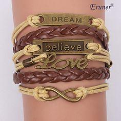 encantos de liga eruner®multilayer pulseiras de couro artesanais – BRL R$ 13,65