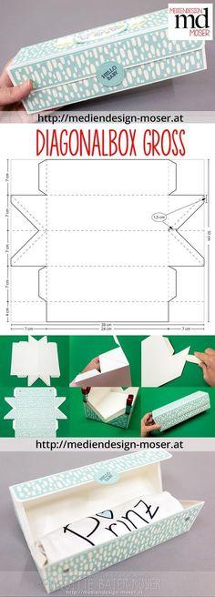 Baby-Body-Verpackung | Mediendesign Moser Eine diagonal gefaltete Box mit reichlich Platz im Inneren (d.h. auch für ein Erwachsenen-T-Shirt als Verpackung geeignet). Hergestellt von Brigitte Baier-Moser mit Stampin'Up!