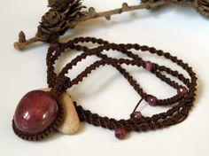 Red Ruby gemstone necklace on brown macrame by DancingLotusDesigns, kr900.00