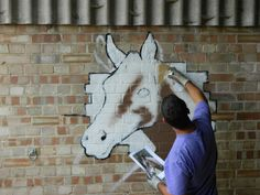 Graffiti artist Mark Tanti works on an equestrian piece. Photo courtesy of Keith at Northchurch Livery Equestrian, Graffiti, Moose Art, Horses, Artist, Pictures, Animals, Design, Photos
