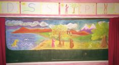 You could do this as a build-up picture just start with basic background and then as you introduce letters add the picture the letter comes from into this picture. Crayon Drawings, Chalk Drawings, Waldorf Curriculum, Waldorf Education, First Grade, Grade 1, Basic Background, Abc School, Chalkboard Drawings