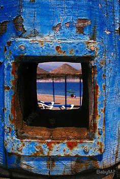 Torre del Mar, Spain through the window Color Celeste, Rhapsody In Blue, Rust In Peace, Kind Of Blue, Peeling Paint, Nature Artwork, Through The Window, Blue Orange, Blue Brown