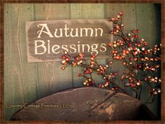 Primitive Wooden Autumn Blessings Sign-primitive wooden sign,primitive wooden signs,autumn blessings sign,wooden garden signs,primitive porch signs
