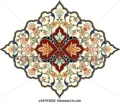 Orange, green, blue and red floral Arabesque Design View Large Clip Art Graphic