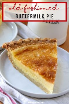 This traditionally southern buttermilk pie recipe is simple to make and pleases the whole family. A flaky pie crust filled with a custard-like filling, that will invoke memories of times gone by. Easy Pie Recipes, Tart Recipes, Best Dessert Recipes, Sweet Recipes, Baking Recipes, Copycat Recipes, Recipes Dinner, Southern Desserts, Easy Desserts
