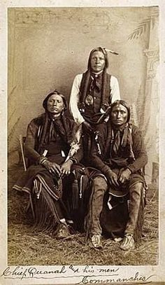 L-R: Quanah Parker, Moetah (aka Pug Nose, aka Frank Moetah), Quassyah (aka Eagle Tail Feather) - Comanche - circa 1891 Native American Photos, Native American Tribes, Native American History, American Indians, American Symbols, American Women, American Art, Old West, Indiana