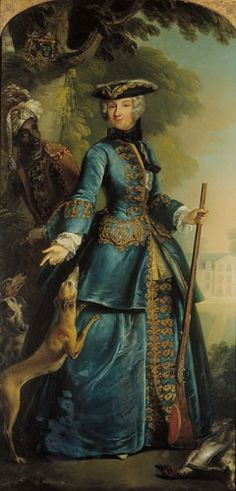 Portrait of an unknown lady in a blue riding habit, with a gun and a dog!