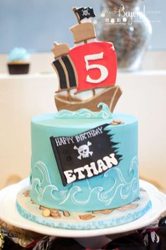 Cool cake at a pirate & mermaid birthday party! See more party planning ideas at CatchMyParty.com!