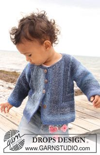 "Free knitting pattern for baby jacket Knitted DROPS jacket in garter st in ""Delight"". ~ DROPS Design"