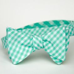 mint gingham freestyle bow tie for men by xoelle on Etsy, $36.00