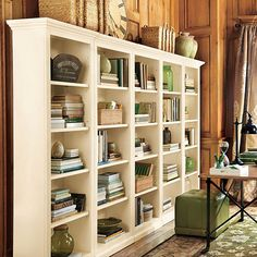 Tuscan Flush Bookcases - Set of 5 - I want to make my piano room into a library with these. Black or cream? Need to measure.