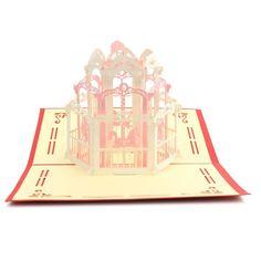 Romântico 3D Pop Up rosa de parque de diversões passeio aparelho Kirigami cartões com Envelope cartões de feliz aniversário presentes em Artesanatos de papel de Casa e Jardim no AliExpress.com | Alibaba Group