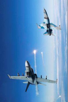 F-16 Viper and a RAAF F/A-18 Hornet