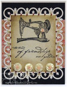 Prickley Pear Rubber Stamps: Old Fashion Sewing Machine, Friendship