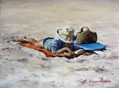 russian Art work image | Beach Read' - Figurative Oil Painting by Amanda Russian