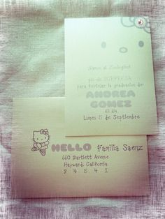 Lovely Hello Kitty invitation set for baby shower, announcement or girl's graduation