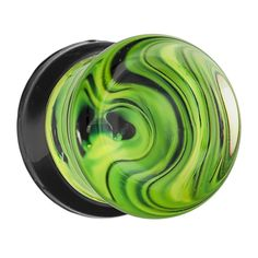 Green and black swirl double flared plugs