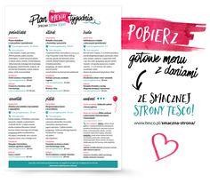 Planowanie tygodniowego menu + grafika do druku - My Pink Plum!