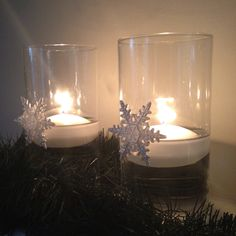 Floating candle holders for my winter wonderland party thanks tithe dollar store, hobby lobby and a glue gun.