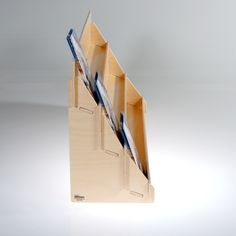 Birch retail display for greeting cards and postcards, three shelf with choice of clear acrylic or wooden lip- side view.
