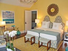 Bright and Beachy - 15 Cheery Yellow Bedrooms on HGTV Home Bedroom, Bedroom Wall, Girls Bedroom, Bedroom Decor, Bedroom Ideas, Bedroom Inspiration, Master Bedroom, Bedroom Furniture, Guest Bedrooms