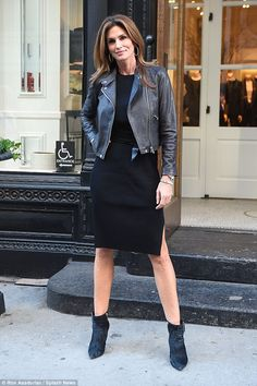 Flawless: Cindy Crawford stepped out head to toe in black on 5th Avenue in Manhattan on Fr...