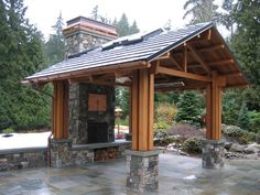 outdoor pavilion traditional patio with fireplace