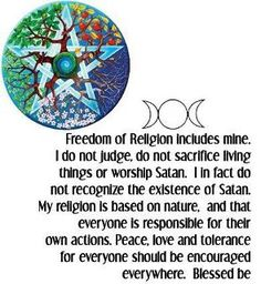 Excellent statement regarding the Wiccan religion. Well put.