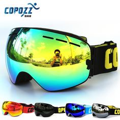 825ee177d381 COPOZZ professional snowboard anti fog ski goggles double lens UV400 big glasses  skiing men women snowmobile goggles -in Skiing Eyewear from Sports ...