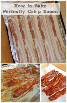 I hsve been cooking bacon way for years! (JJR) How To Bake Perfectly Crisp Bacon every time with no grease splatters & easy clean up Breakfast Dishes, Breakfast Recipes, Pork Recipes, Cooking Recipes, Cooking Bacon, Cooking Tips, Dip Recipes, Do It Yourself Food, Gastronomia