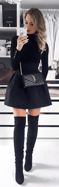 #winter #outfits black long-sleeved top with black flare skirt