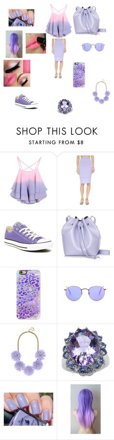 """Purple and pink"" by trust-kashmir ❤ liked on Polyvore featuring Elizabeth and James, Converse, Rachael Ruddick, Casetify, Ray-Ban, BaubleBar and Palm Beach Jewelry"