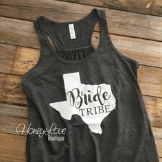 Texas Bride Tribe flowy tank, Lone Star State bridal party, bachelorette party, maid of honor, matching girls tanks, bridal party shirts, bachelorette weekend, bride tribe shirt tank tees by HoneyLove Boutique