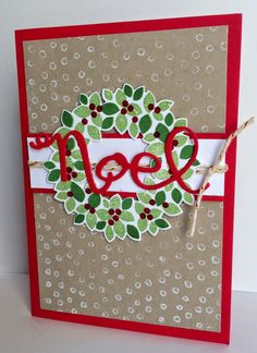 Kathryn's Stampin' World - Merry Monday Christmas Challenge #123, Stampin' Up Wondrous Wreath, Wonderful Wreath Farmelits Dies, Decorative Dots Textured Impression Embossing Folder