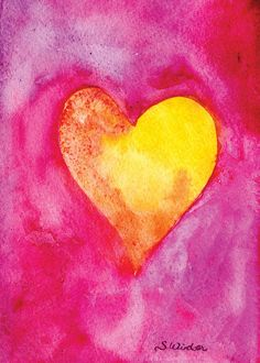 Golden Heart Watercolor Painting Valentine's Day Card Fuschia and Gold Neon. $3.50, via Etsy.
