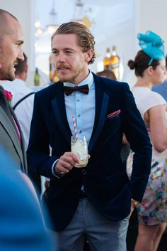 OAKS DAY IN THE Day three of the Melbourne Cup Carnival brought some wonderfully flamboyant looks to the House Of Walker marquee during Oaks Day. Oaks Day, Men Formal, I Dress, Mens Fashion, Style Fashion, Handsome, Classy, Fancy, Street Style