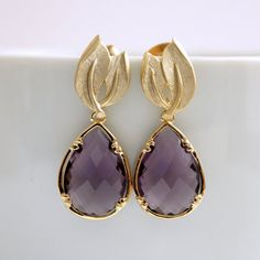 Leaf Earrings Gold Post with Amethyst Glass by poetryjewelry, $32.50
