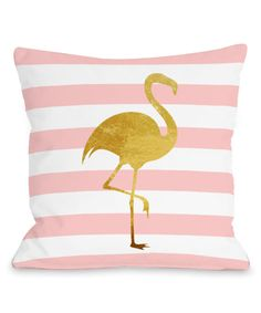 Another great find on #zulily! Tropical Stripe Flamingo Throw Pillow by OneBellaCasa #zulilyfinds