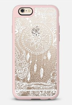 Modern white dreamcatcher floral lace pattern - iPhone 6 case in Pink Gray and Clear by @girlytrend | @casetify
