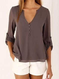 Chicnico Brown V neck Button Detail Dip Back Blouse