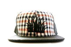 Black straw and Tartan Snapback cap by: Grassbacks by Grassbacks