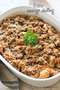 The classic stuffing recipe gets an added boost of flavor with sausage in this Easy Sausage Stuffing recipe. It's the perfect side to the turkey on Thanksgiving!